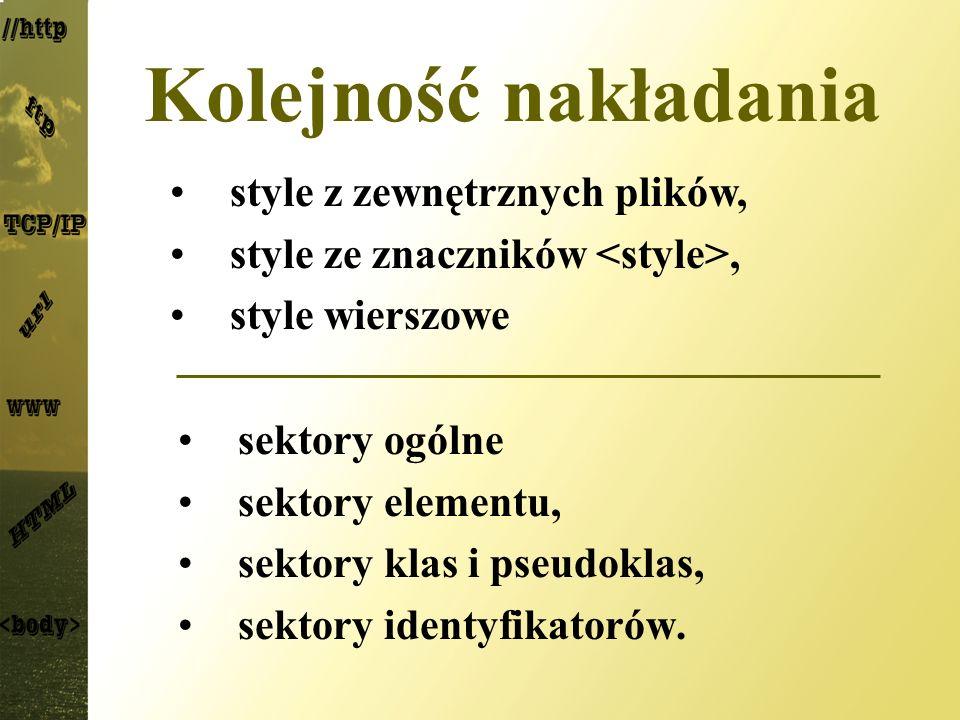 Kolejność nakładania style z zewnętrznych plików, style ze znaczników <style>, style wierszowe. sektory ogólne.