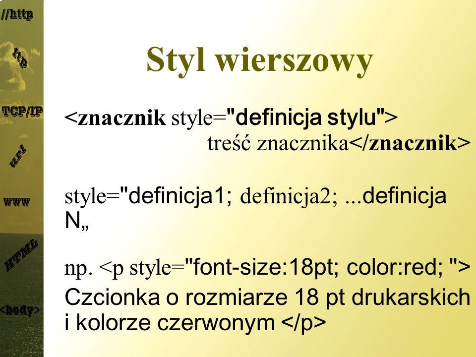 """Styl wierszowy <znacznik style= definicja stylu > treść znacznika</znacznik> style= definicja1; definicja2; ...definicja N"""""""