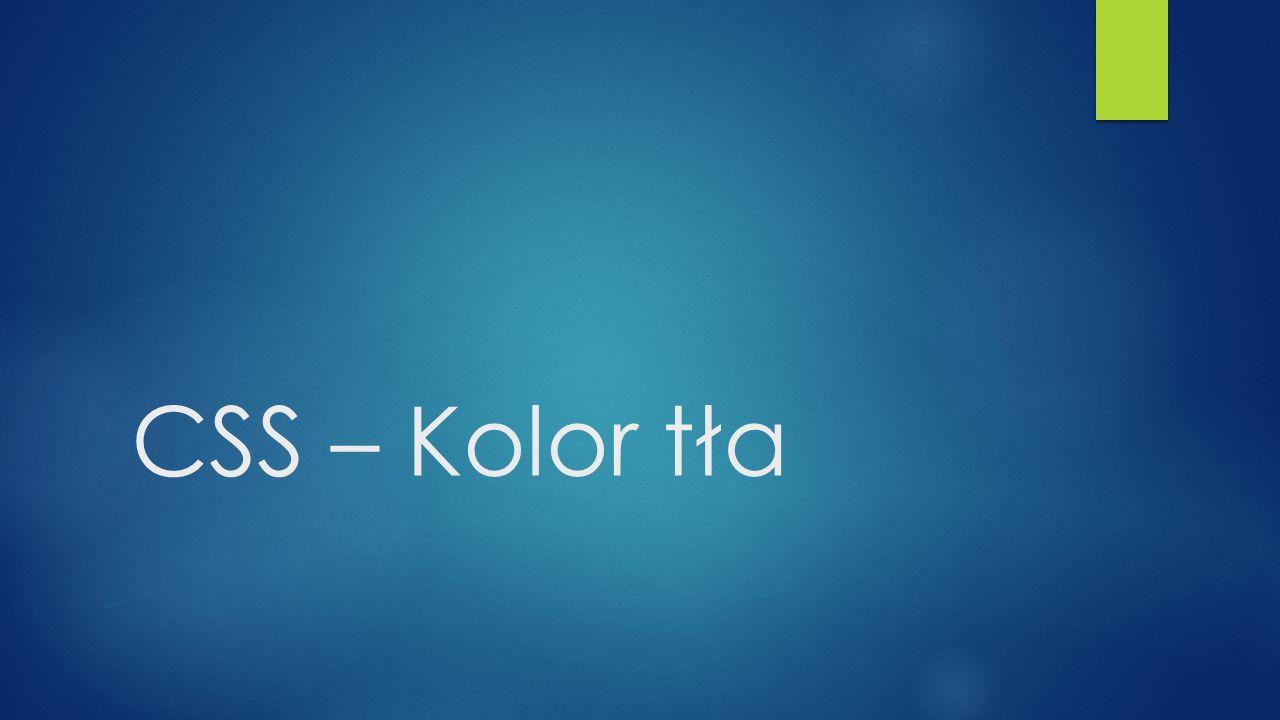 CSS – Kolor tła