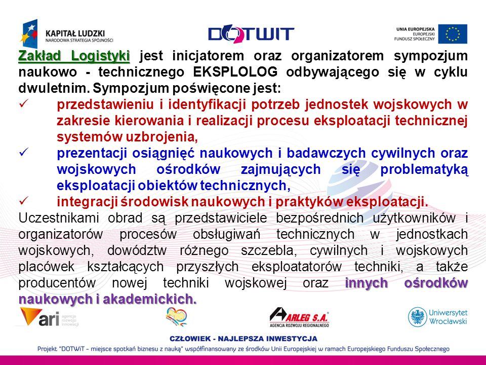 Zakład Logistyki jest inicjatorem oraz organizatorem sympozjum naukowo - technicznego EKSPLOLOG odbywającego się w cyklu dwuletnim. Sympozjum poświęcone jest: