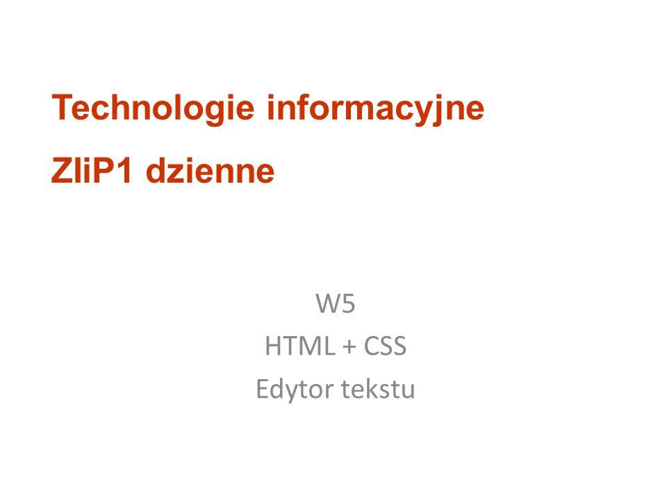 W5 HTML + CSS Edytor tekstu