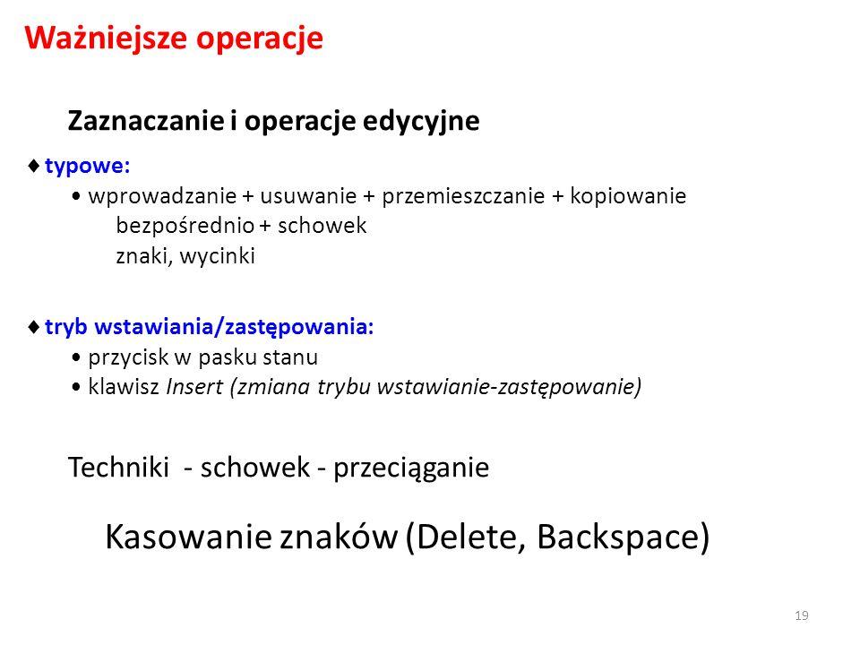 Kasowanie znaków (Delete, Backspace)