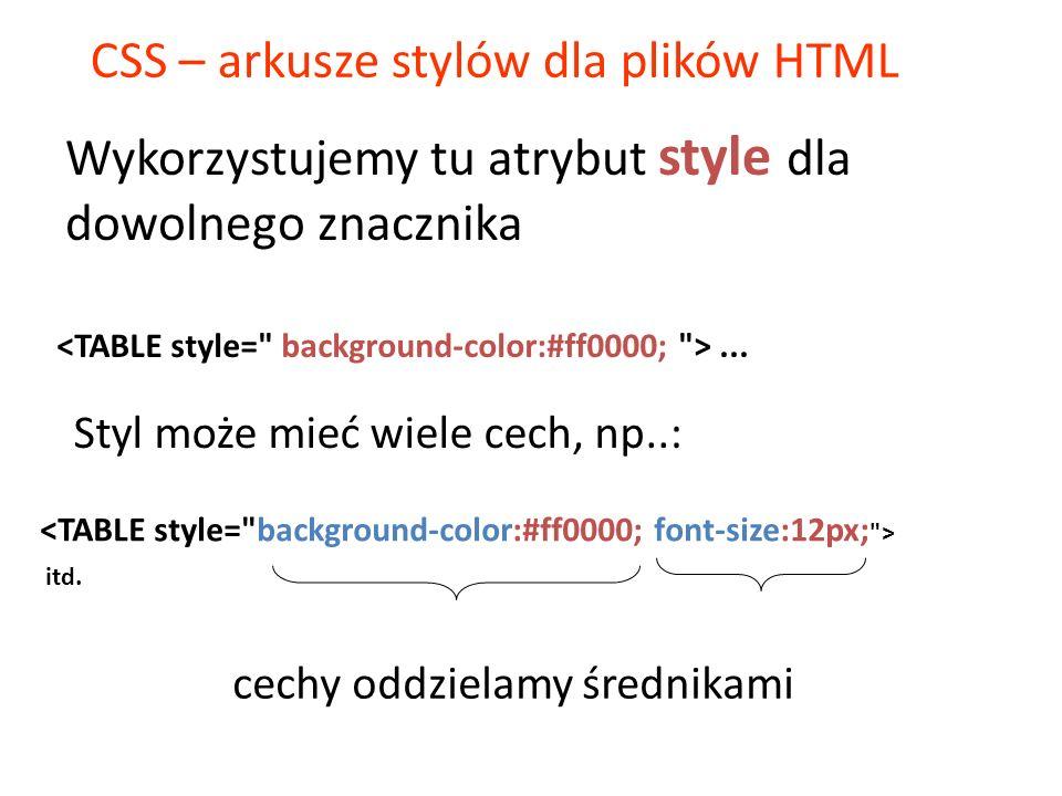 CSS – arkusze stylów dla plików HTML