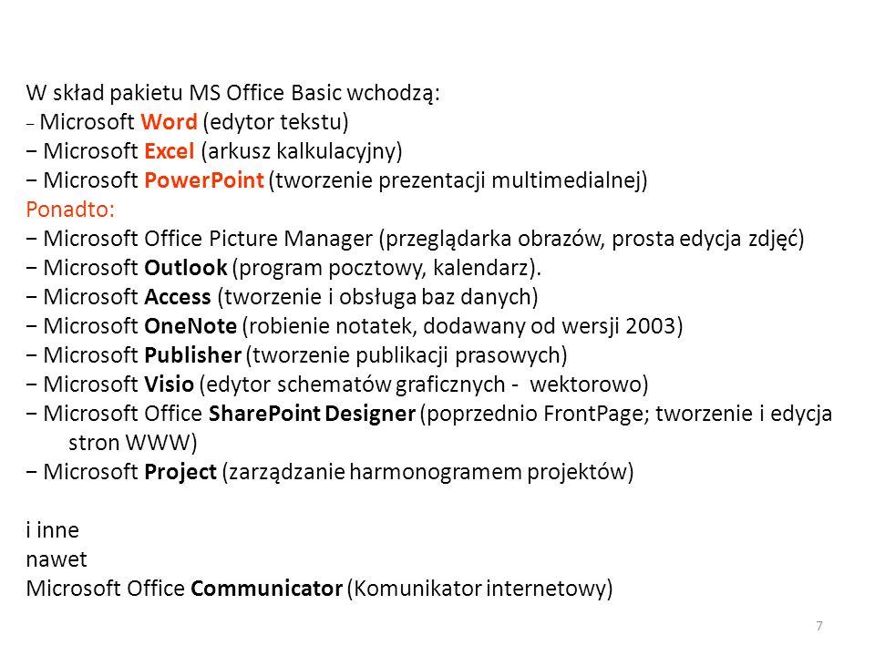 W skład pakietu MS Office Basic wchodzą: