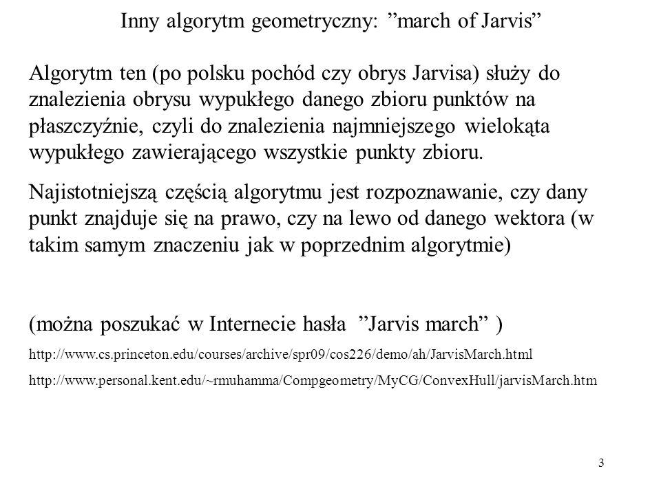 Inny algorytm geometryczny: march of Jarvis