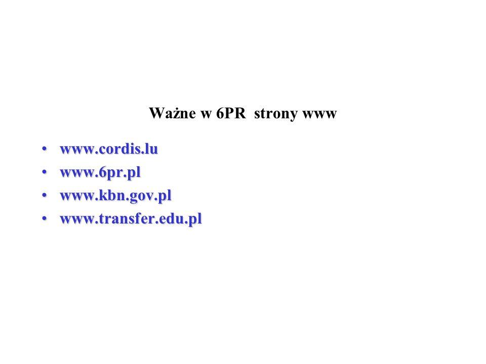 Ważne w 6PR strony www www.cordis.lu www.6pr.pl www.kbn.gov.pl www.transfer.edu.pl