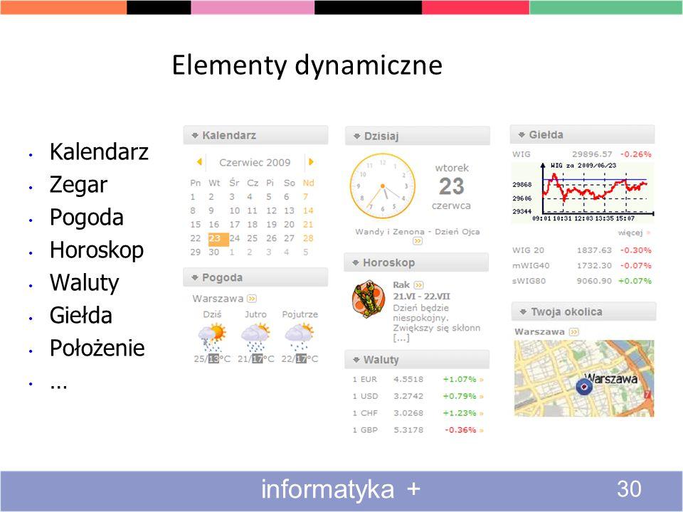 Elementy dynamiczne informatyka + Kalendarz Zegar Pogoda Horoskop