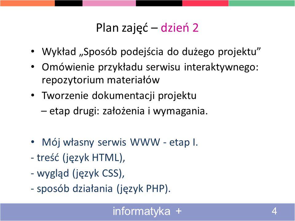 """Plan zajęć – dzień 2 Wykład """"Sposób podejścia do dużego projektu"""