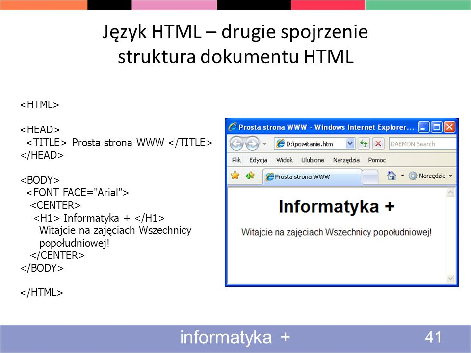 Język HTML – drugie spojrzenie struktura dokumentu HTML