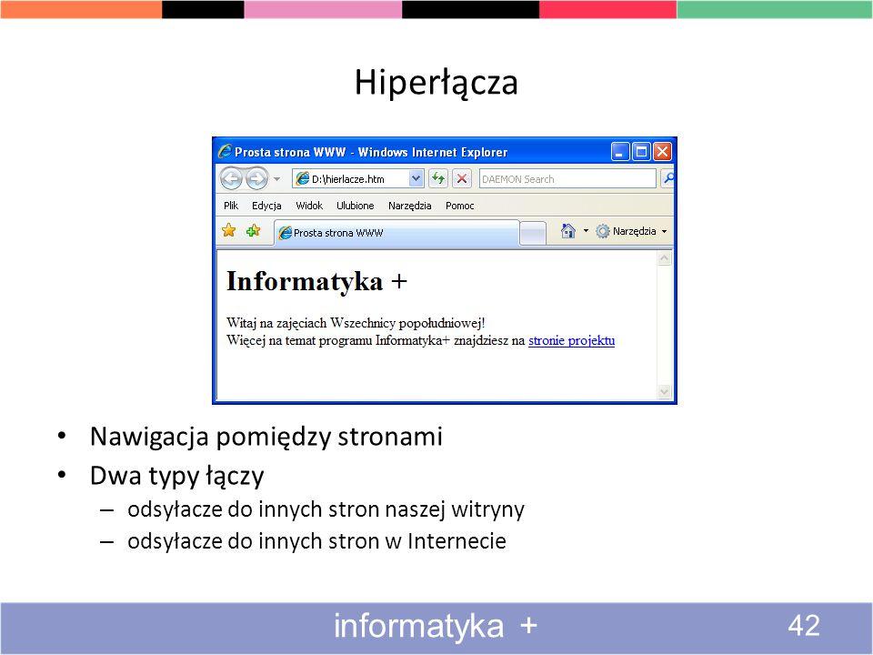 Hiperłącza informatyka + Nawigacja pomiędzy stronami Dwa typy łączy