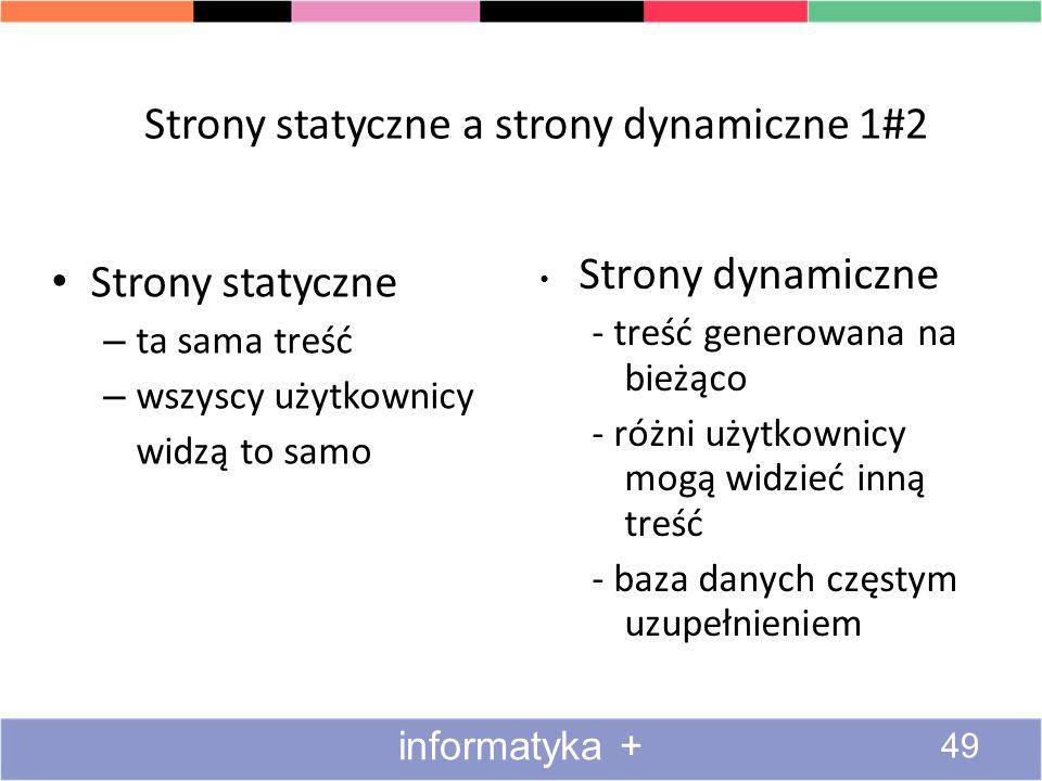Strony statyczne a strony dynamiczne 1#2