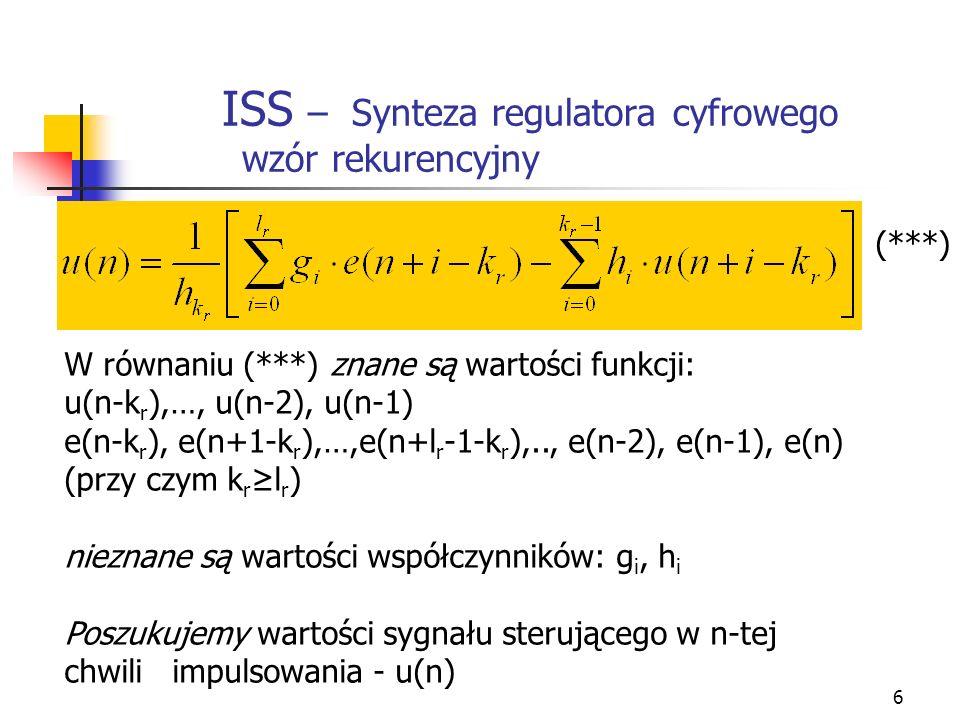 ISS – Synteza regulatora cyfrowego wzór rekurencyjny