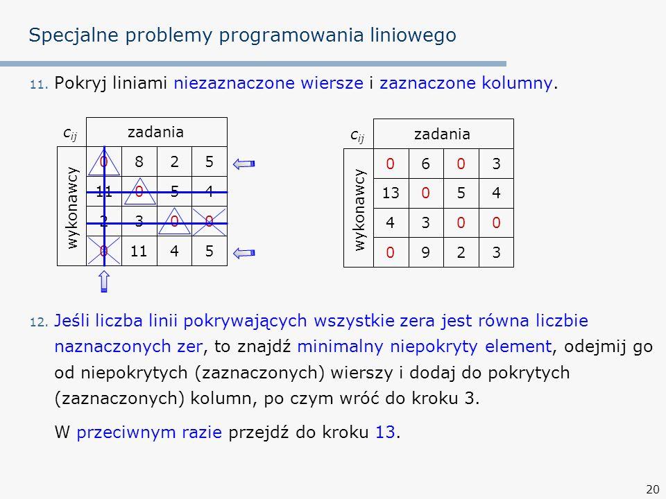 Specjalne problemy programowania liniowego