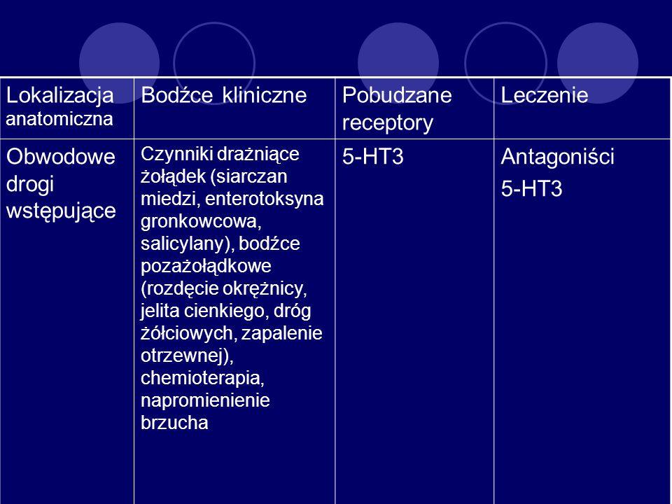 Lokalizacja anatomiczna Bodźce kliniczne Pobudzane receptory Leczenie