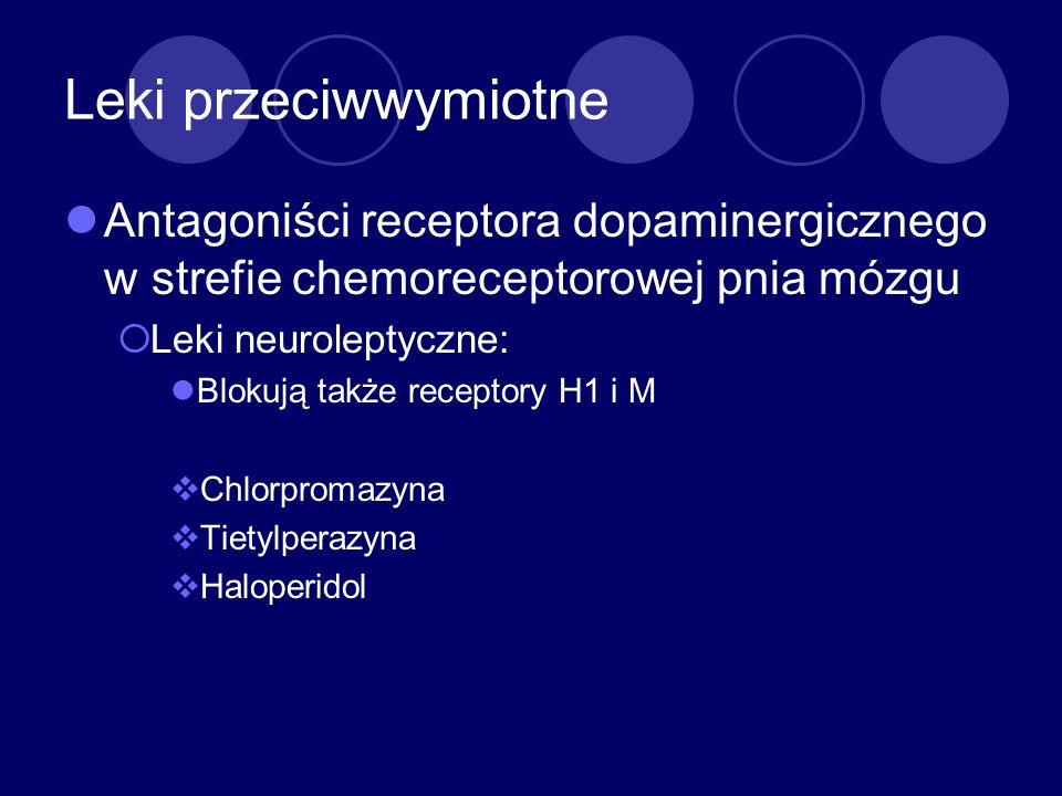 Leki przeciwwymiotne Antagoniści receptora dopaminergicznego w strefie chemoreceptorowej pnia mózgu.