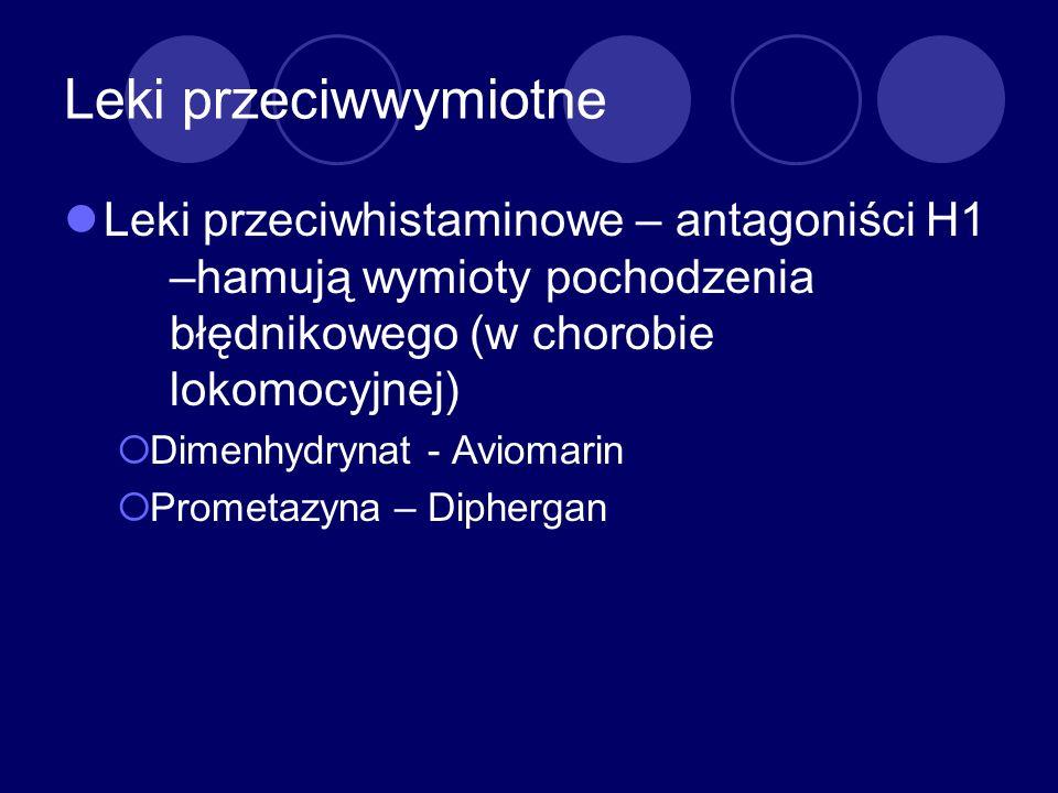 Leki przeciwwymiotne Leki przeciwhistaminowe – antagoniści H1 –hamują wymioty pochodzenia błędnikowego (w chorobie lokomocyjnej)