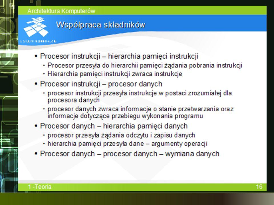 Procesor instrukcji przesyła do hierarchii pamięci instrukcji żądanie pobrania instrukcji. W odpowiedzi otrzymuje instrukcje. instrukcje przesyłane są po zdekodowaniu do procesora danych, który wykonuje operacje na danych.