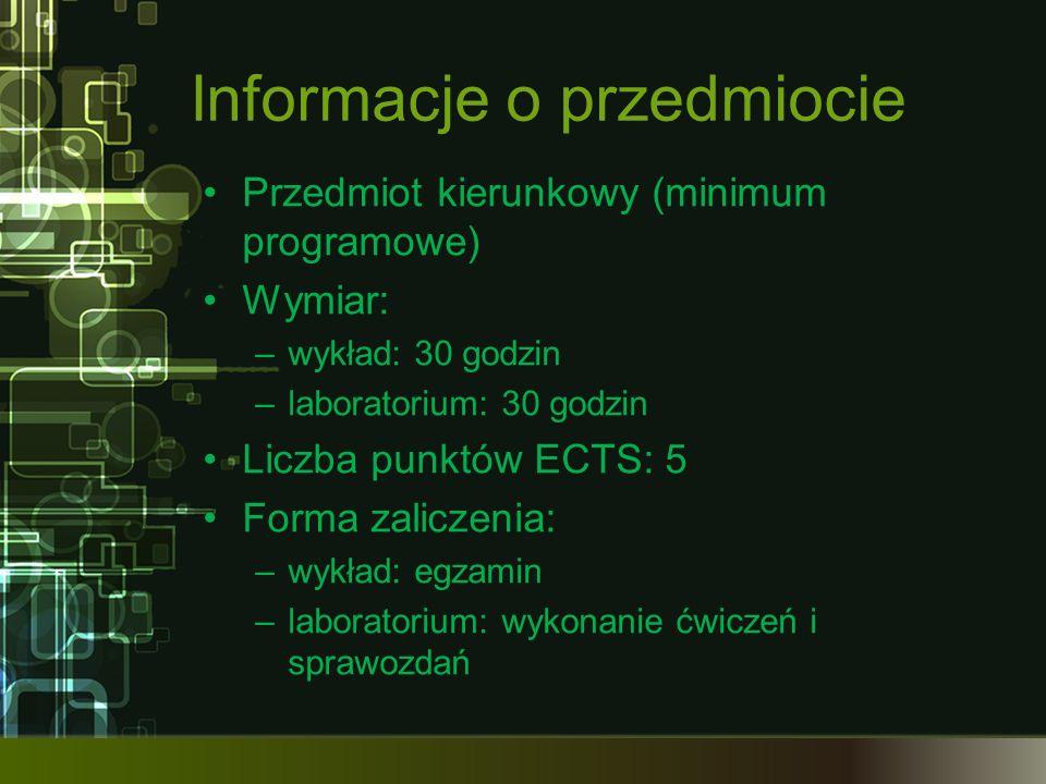 Informacje o przedmiocie