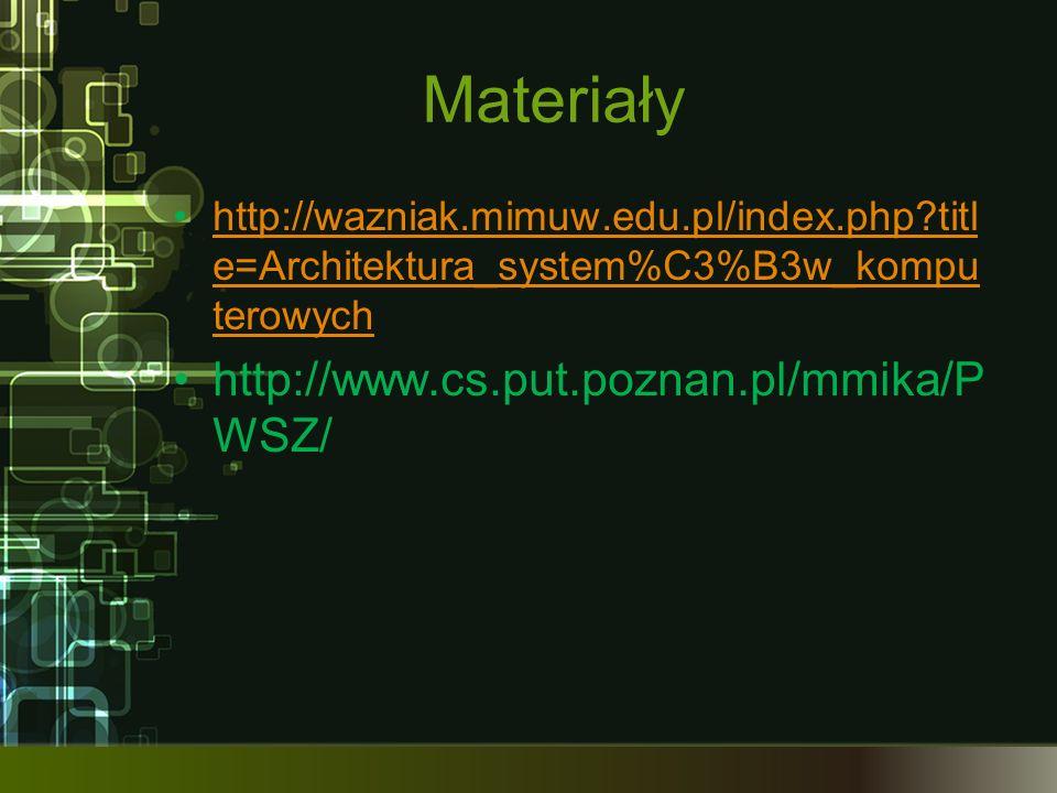 Materiały http://www.cs.put.poznan.pl/mmika/PWSZ/