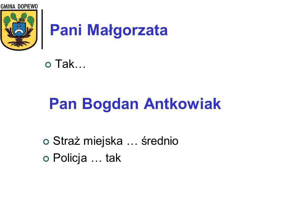Pani Małgorzata Pan Bogdan Antkowiak Tak… Straż miejska … średnio