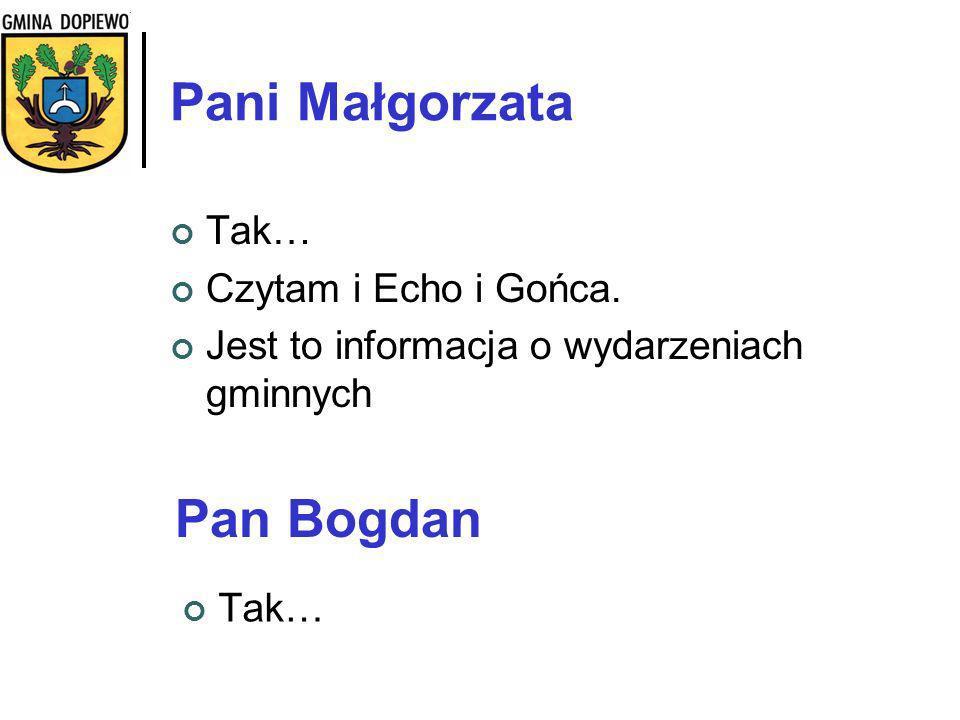 Pani Małgorzata Pan Bogdan Tak… Czytam i Echo i Gońca.