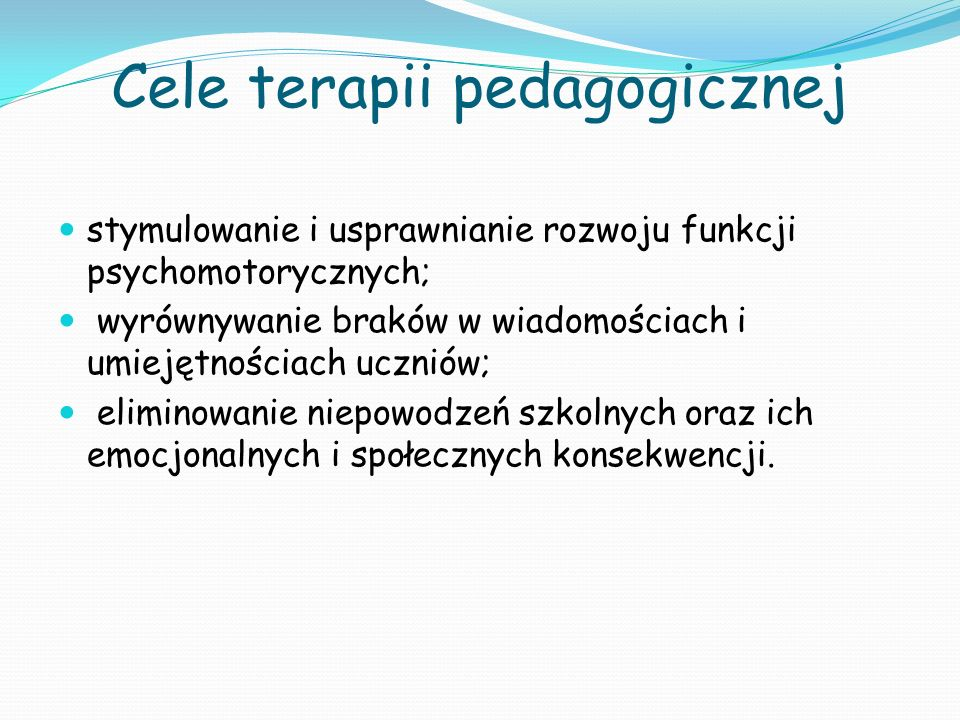 Cele terapii pedagogicznej