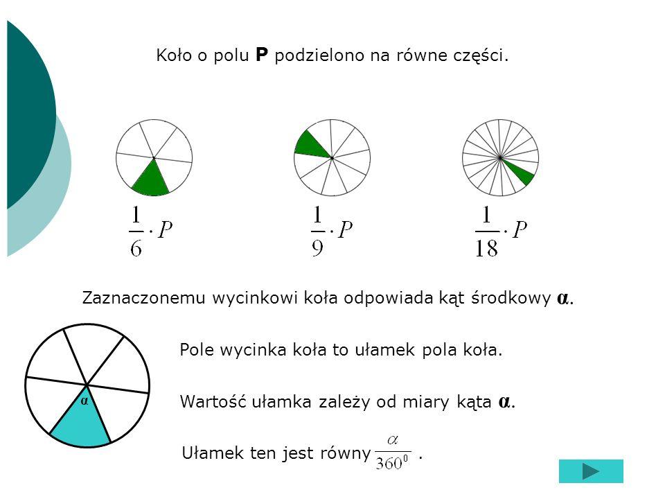 Koło o polu P podzielono na równe części.