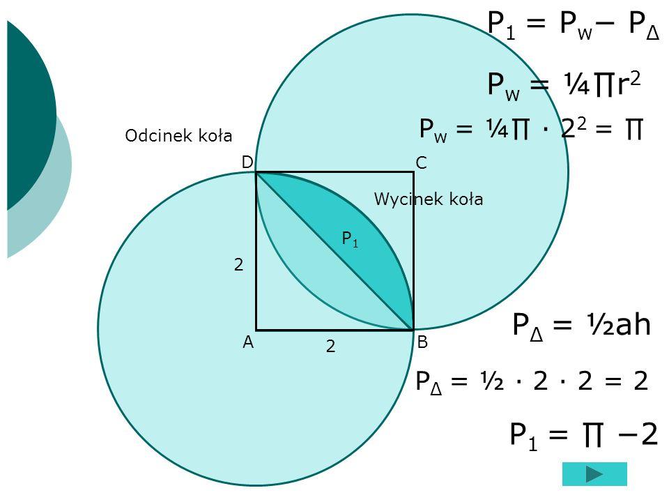 P1 = Pw− PΔ Pw = ¼∏r2 PΔ = ½ah P1 = ∏ −2 Pw = ¼∏ ∙ 22 = ∏