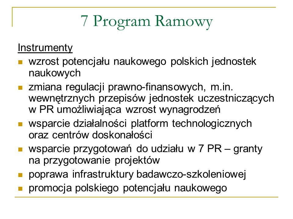 7 Program Ramowy Instrumenty