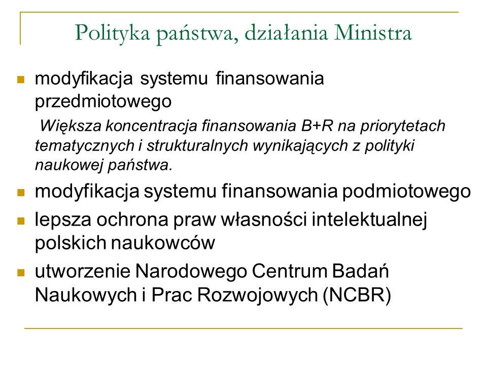Polityka państwa, działania Ministra