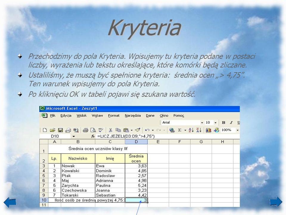 Kryteria Przechodzimy do pola Kryteria. Wpisujemy tu kryteria podane w postaci liczby, wyrażenia lub tekstu określające, które komórki będą zliczane.