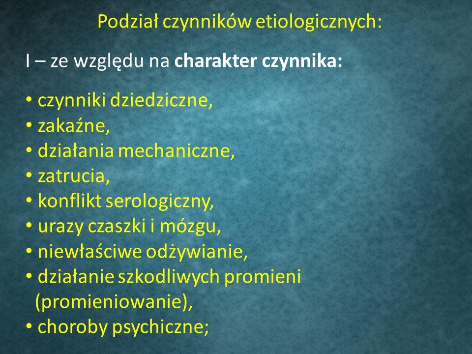 Podział czynników etiologicznych: