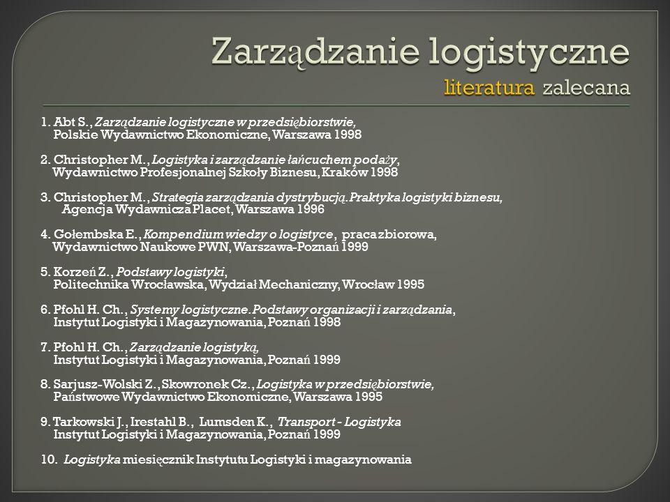Zarządzanie logistyczne literatura zalecana