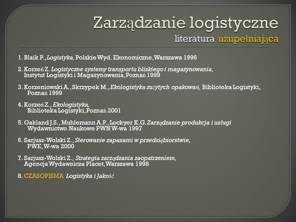 Zarządzanie logistyczne literatura uzupełniająca