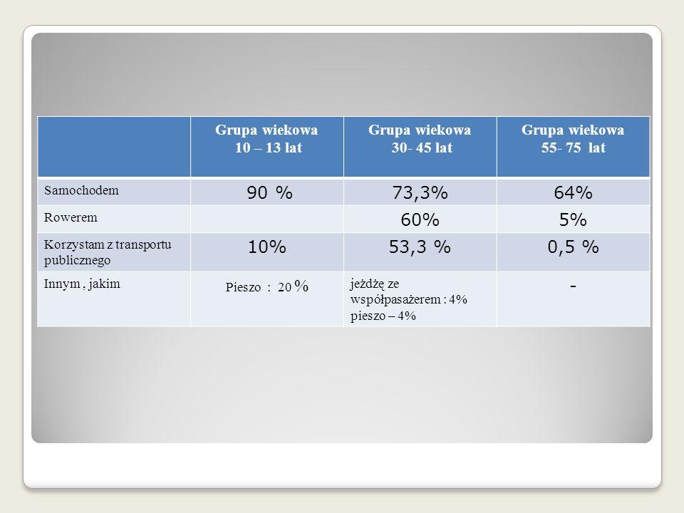 90 % 73,3% 64% 60% 5% 10% 53,3 % 0,5 % - Grupa wiekowa 10 – 13 lat