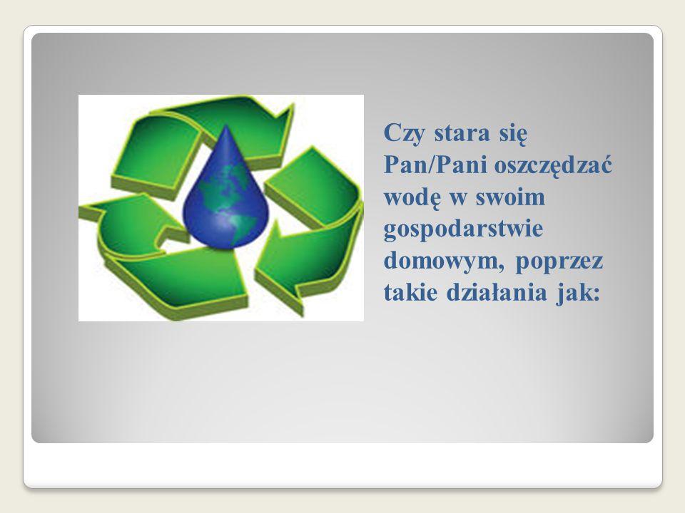 Czy stara się Pan/Pani oszczędzać wodę w swoim gospodarstwie domowym, poprzez takie działania jak:
