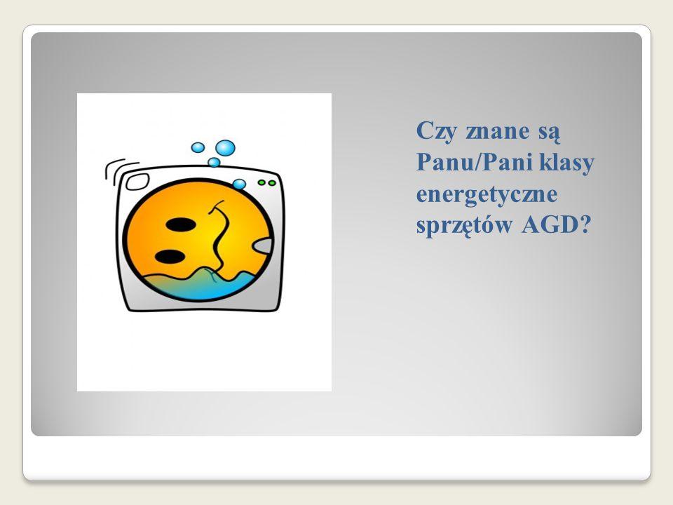 Czy znane są Panu/Pani klasy energetyczne sprzętów AGD