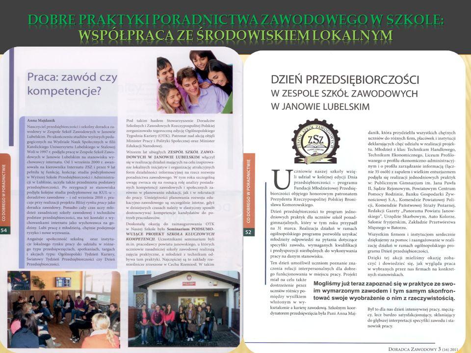 Dobre praktyki poradnictwa zawodowego w szkole: Współpraca ze środowiskiem lokalnym
