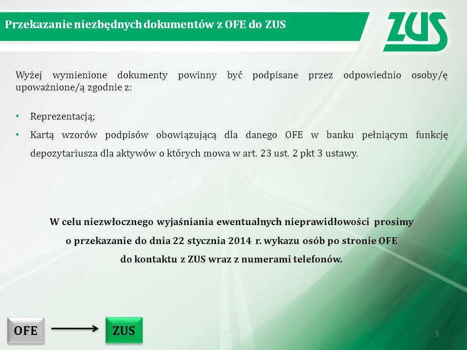 OFE ZUS Przekazanie niezbędnych dokumentów z OFE do ZUS