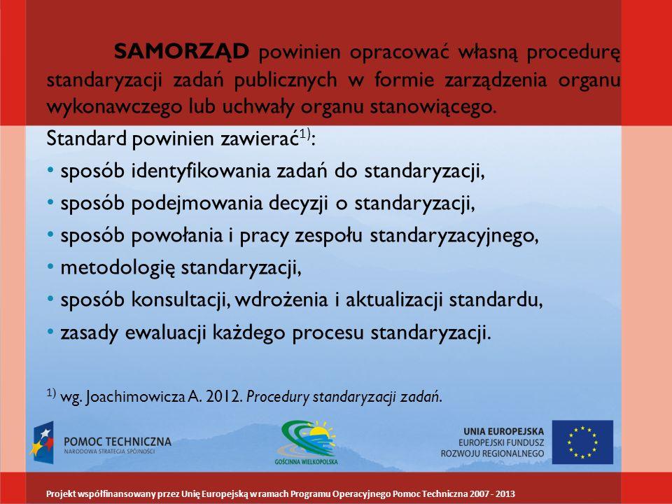 SAMORZĄD powinien opracować własną procedurę standaryzacji zadań publicznych w formie zarządzenia organu wykonawczego lub uchwały organu stanowiącego.
