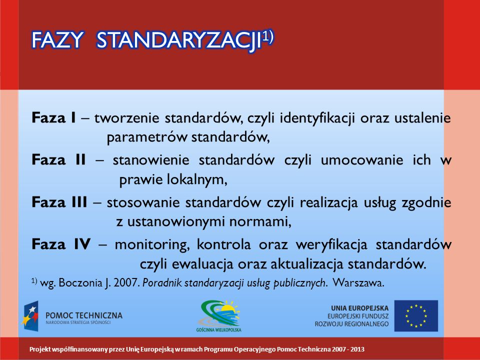 FAZY STANDARYZACJI1) Faza I – tworzenie standardów, czyli identyfikacji oraz ustalenie parametrów standardów,