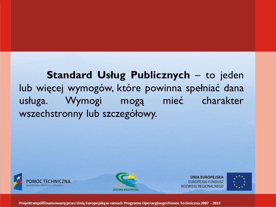 Standard Usług Publicznych – to jeden lub więcej wymogów, które powinna spełniać dana usługa. Wymogi mogą mieć charakter wszechstronny lub szczegółowy.
