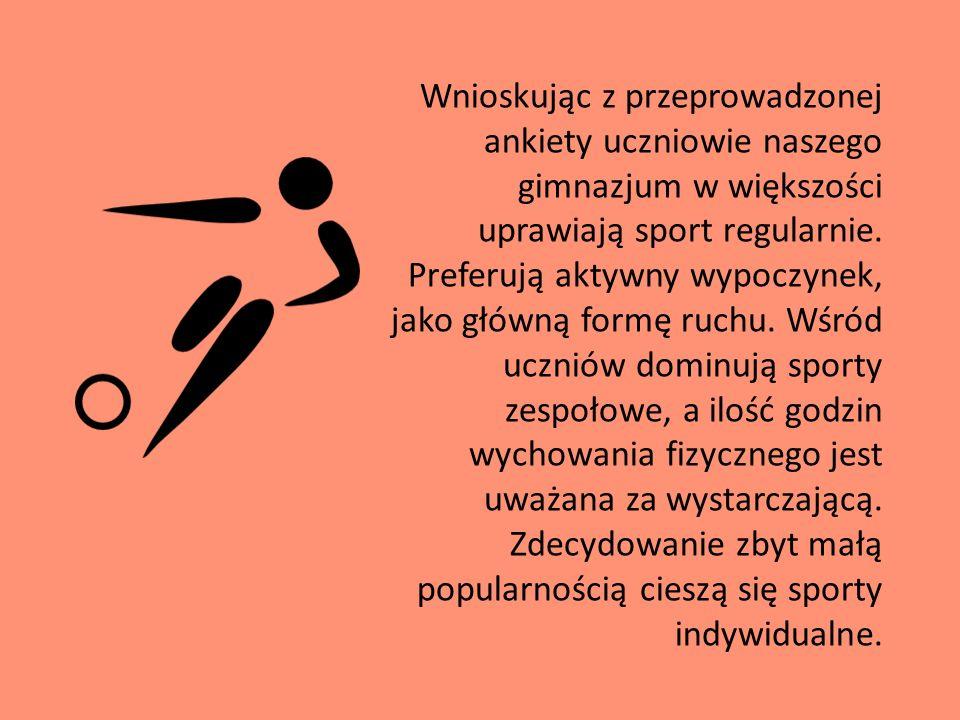 Wnioskując z przeprowadzonej ankiety uczniowie naszego gimnazjum w większości uprawiają sport regularnie.
