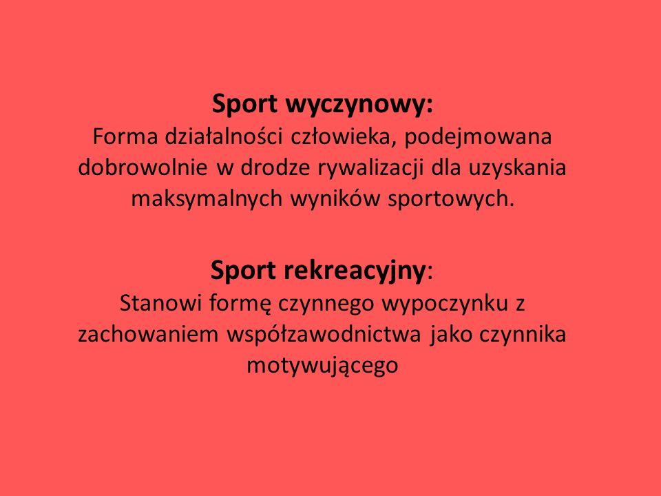 Sport wyczynowy: Forma działalności człowieka, podejmowana dobrowolnie w drodze rywalizacji dla uzyskania maksymalnych wyników sportowych.
