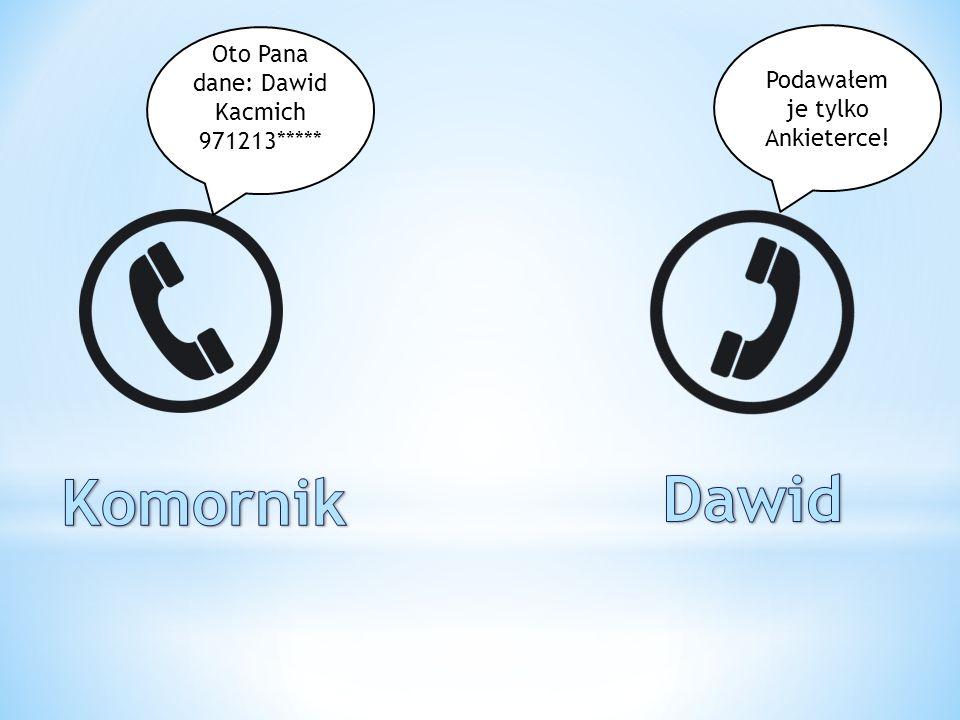 Dawid Komornik Oto Pana dane: Dawid Kacmich