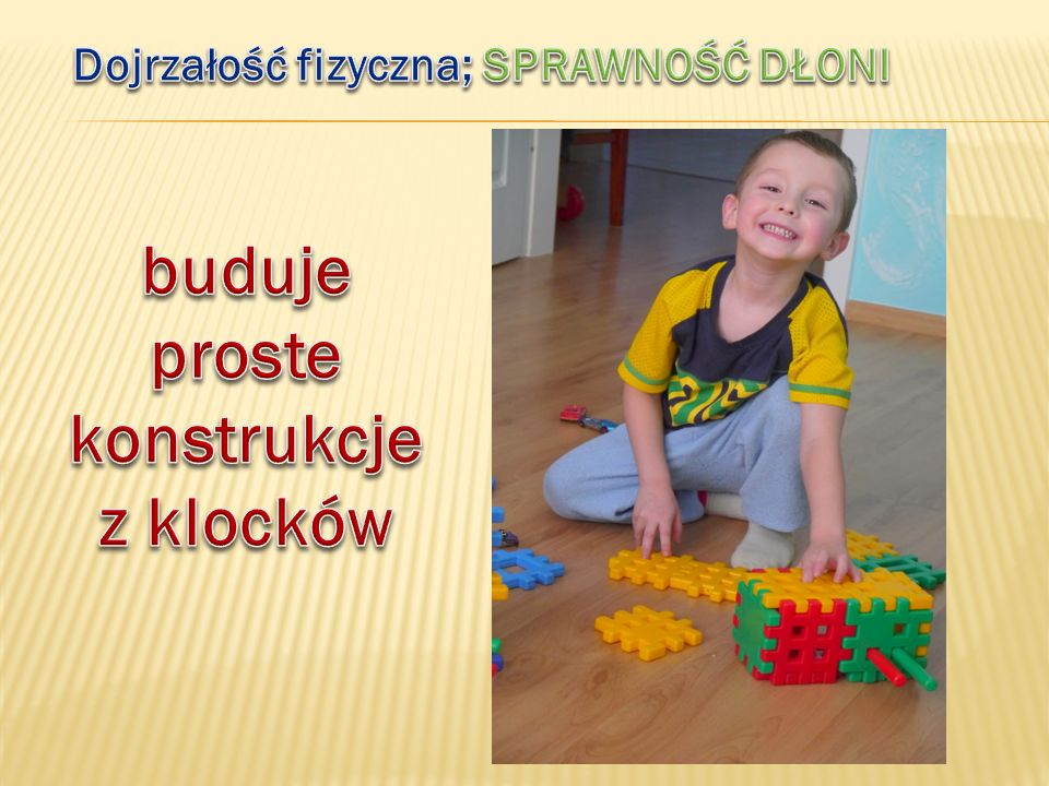buduje proste konstrukcje z klocków