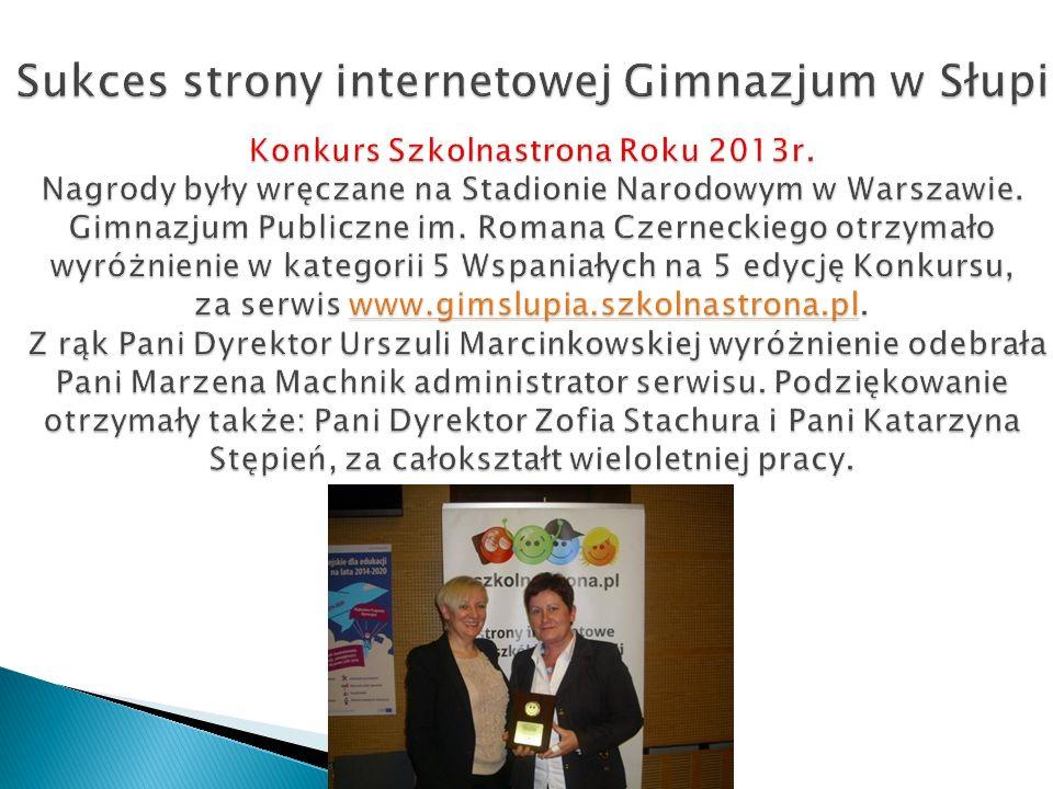 Sukces strony internetowej Gimnazjum w Słupi Konkurs Szkolnastrona Roku 2013r.