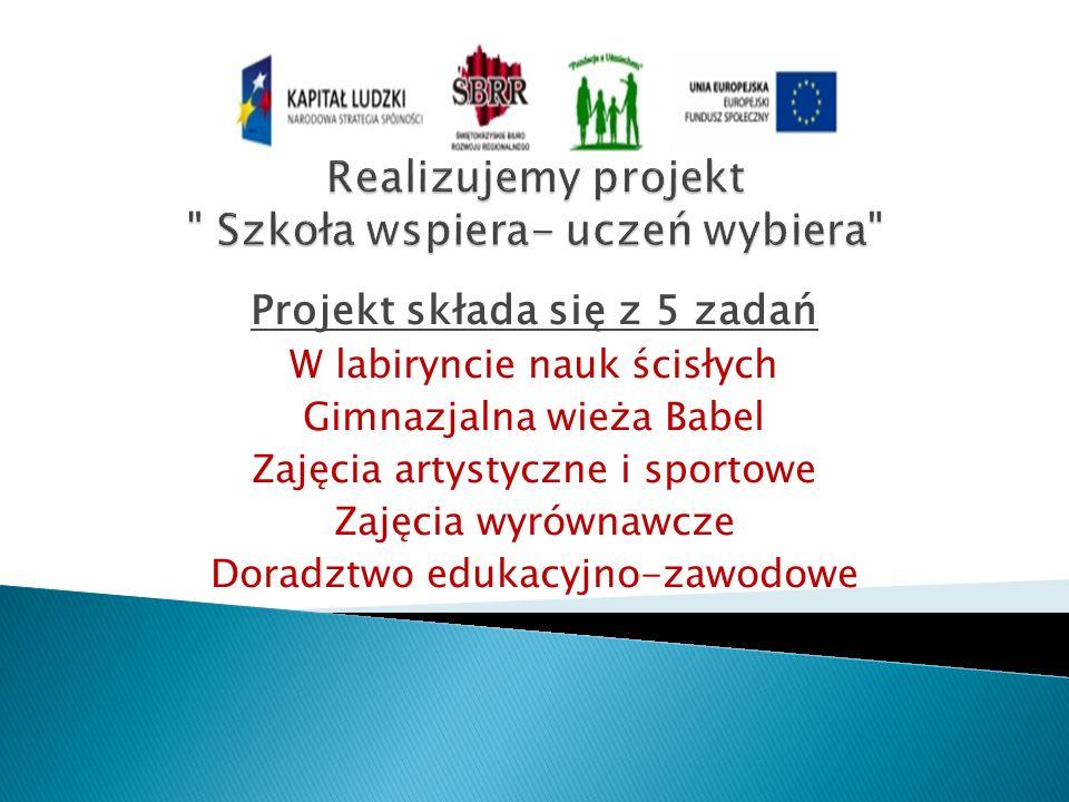 Realizujemy projekt Szkoła wspiera- uczeń wybiera