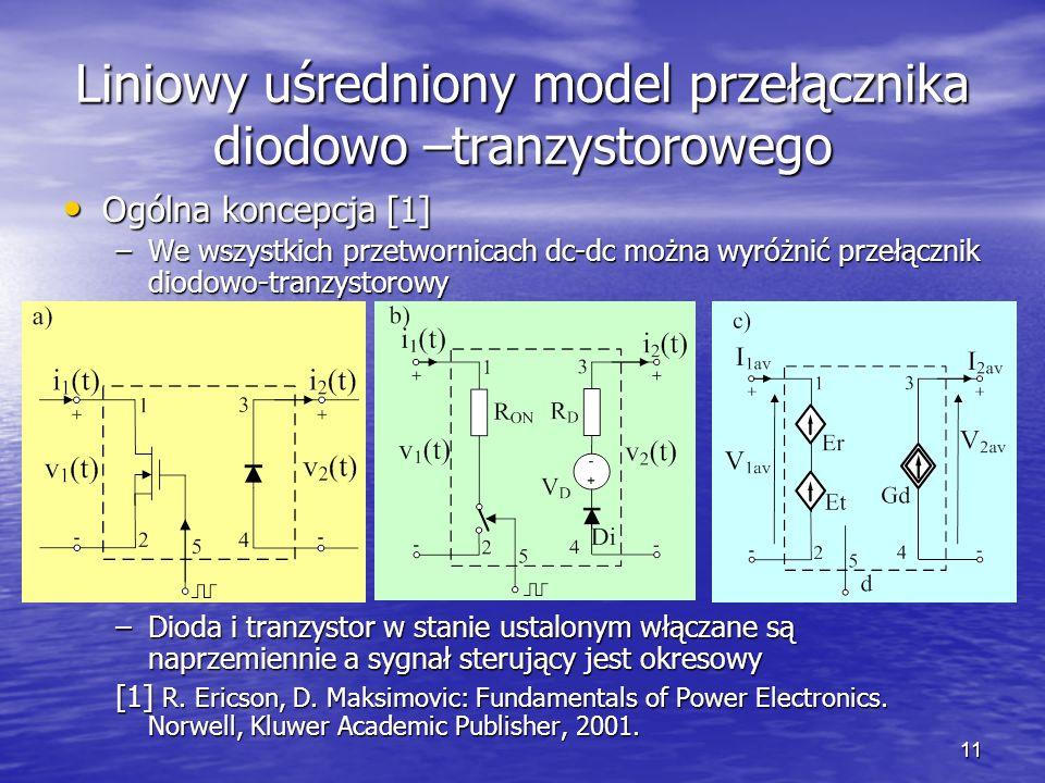 Liniowy uśredniony model przełącznika diodowo –tranzystorowego