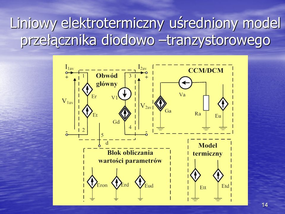 Liniowy elektrotermiczny uśredniony model przełącznika diodowo –tranzystorowego